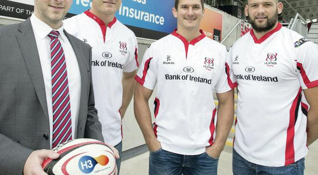 Ulster boost: Jim Livingstone, H3 Business Development Manager, is pictured in the new H3 Lounge at Kingspan Stadium with Ulster forwards Franco van der Merwe, Dan Tuohy and Robbie Diack