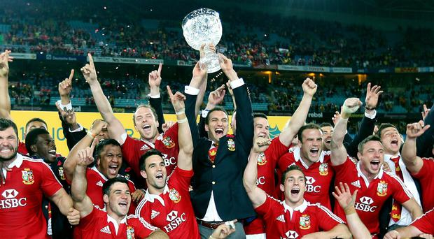 The British and Irish Lions celebrate their Test series victory over Australia last year