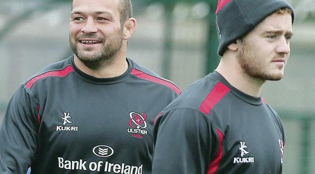 All smiles: Skipper Rory Best (left) with Paddy Jackson, who makes his first outing of the season tonight in Cardiff