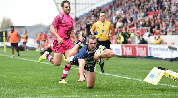 Tom Arscott crossing the London Welsh line was a regular occurrence at the AJ Bell Stadium