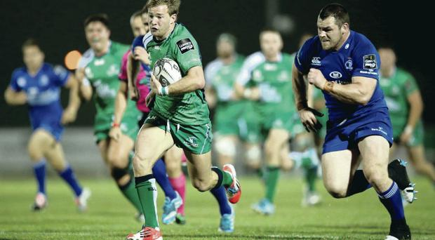 Western promise: Connacht scrum-half Kieron Marmion on his way to scoring the crucial try to beat Leinster