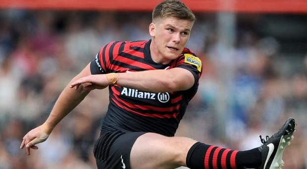 Saracens will be without Owen Farrell for a few weeks because of a leg problem