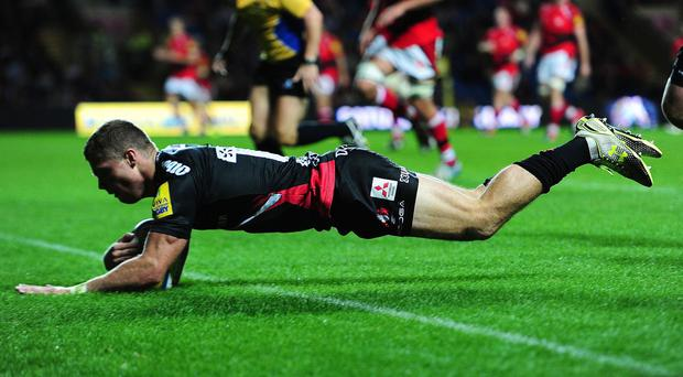 Henry Purdy goes over for the opening try