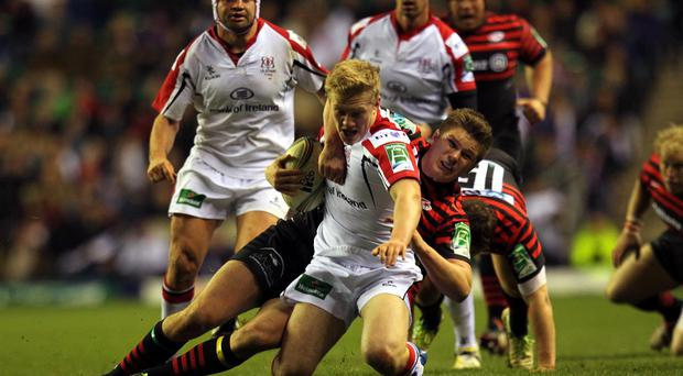 Stuart Olding, pictured front, scored two tries as Ulster triumphed on Saturday night