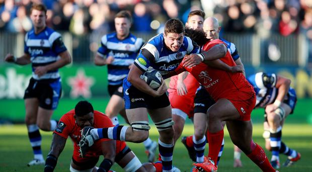 Bath's Charlie Ewels (centre) impressed Toby Booth with a strong performance as captain.