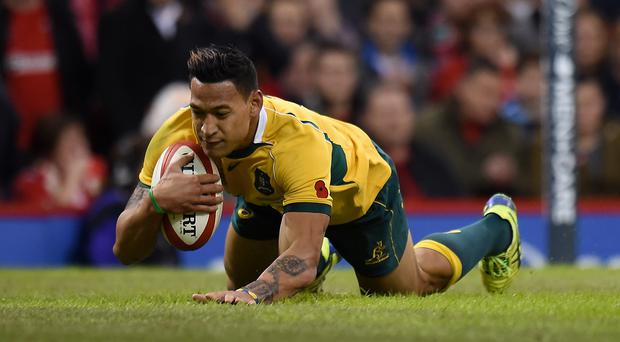 Australia's Israel Folau scores his second try