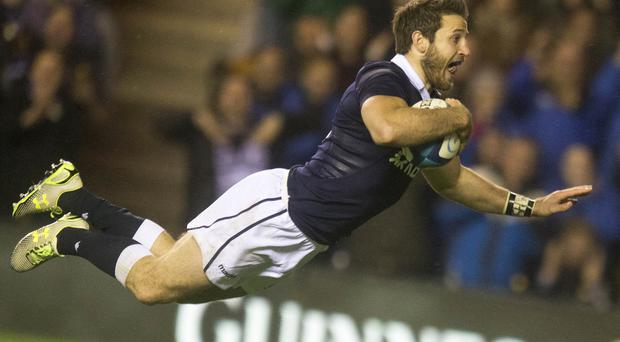Scotland's Tommy Seymour scores his side's fifth try during the win over Argentina