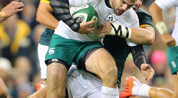 Slow progress: Ireland's Jared Payne is tackled by Jean de Villiers before being forced to leave the pitch with a foot injury