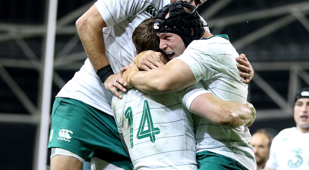 Victory roar: Ireland's Conor Murray and Richardt Strauss celebrate Tommy Bowe's try