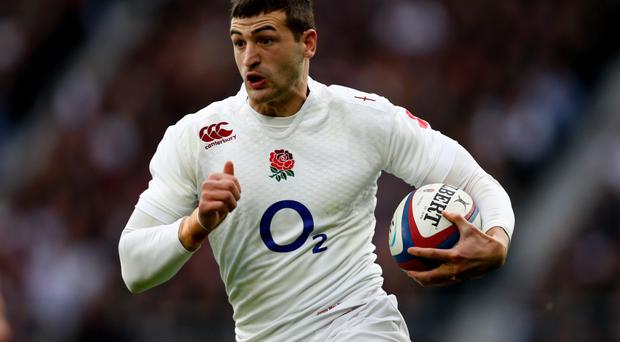 Crossing over: Jonny May grabbed his first try