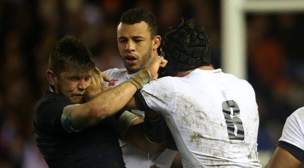 Courtney Lawes, centre, should be fit to start for England