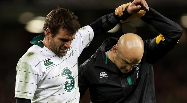 Jared Payne, left, will miss Ireland's final autumn Test against Australia after failing to recover from foot trouble