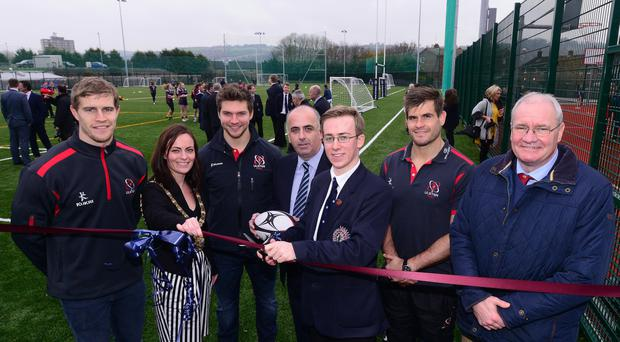 Pitch perfect: Andrew Trimble, Lord Mayor Nichola Mallon, Michael Allen and Louis Ludik help open Aquinas' new pitch