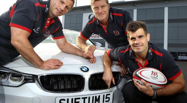 Driving ambition: Roger Wilson, Franco Van Der Merwe and Louis Ludik announce Bavarian BMW as Ulster Rugby's official car partner on a three-year deal