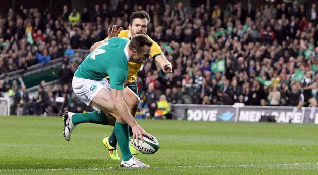 World class: Ulster's Tommy Bowe touches down for his try