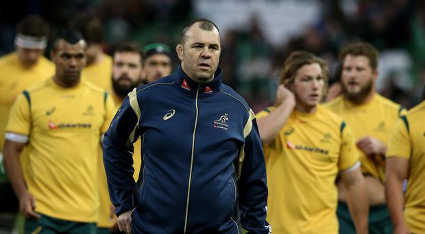 Michael Cheika, centre, is ready to 'weather the storm' if Australia lose to England this weekend