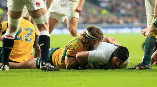 Ben Morgan scores his second try for England