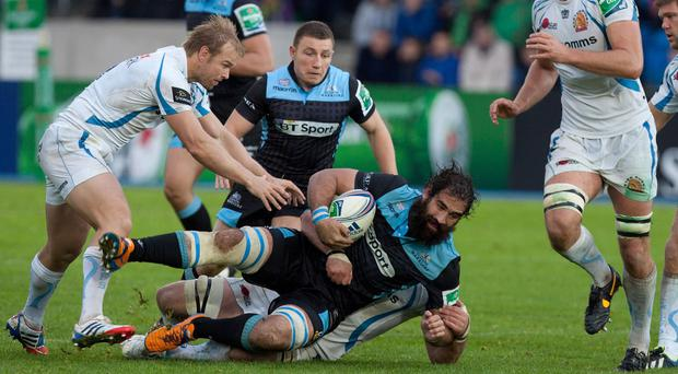 Glasgow's Josh Straus, pictured in action against Exeter last season, has signed a new two-year deal with the Warriors