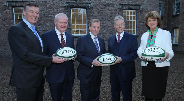 Irish rugby boss Philip Browne, left, believes Ireland will face competition from South Africa and the USA in the bid to stage Rugby World Cup 2023