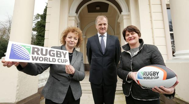 Forward planning: Hugo MacNeill with Stormont Sports Minister Carál Ní Chuilín and Enterprise Minister Arlene Foster when the bid's working committee was set up earlier this year