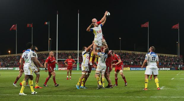 Damien Chouly, centre, scored two tries as Clermont defeated Munster
