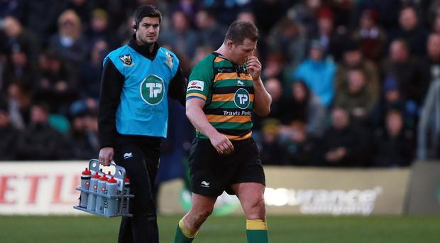 Dylan Hartley makes his way off after being shown the red card