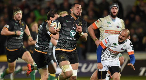 Samu Manoa, centre, was one of the try-scorers for Northampton
