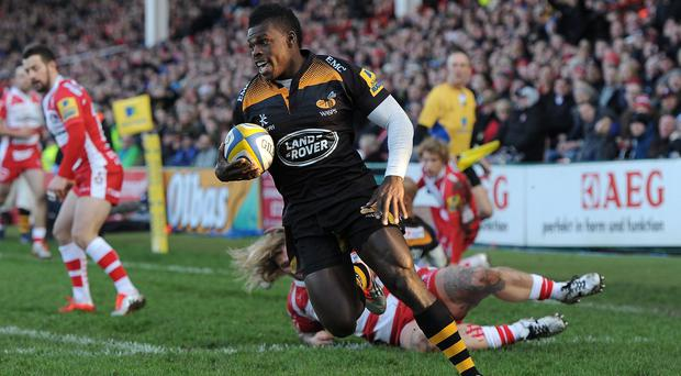 Christian Wade, pictured, Tom Varndell and Nathan Hughes scored Wasps' tries