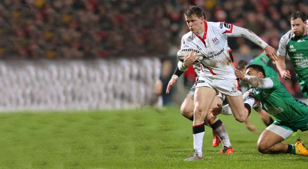 Breaking through: Craig Gilroy finds space and evades Connacht attention to score Ulster's try at the Kingspan Stadium
