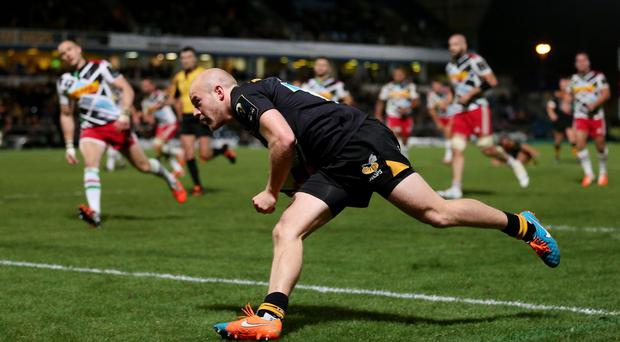 Joe Simpson in tryscoring form for Wasps