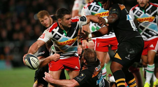 Nick Easter, with ball, will notch his 250th Aviva Premiership appearance for Harlequins