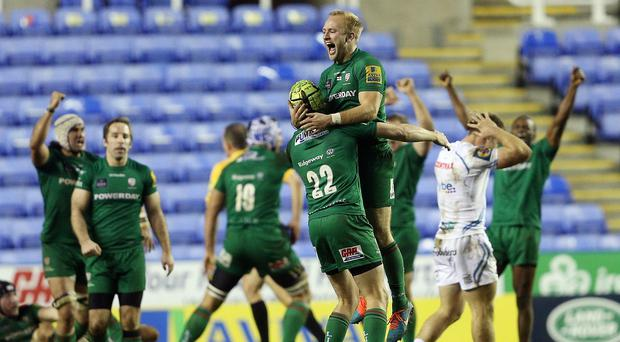 London Irish's Shane Geraghty, pictured, kicked a winning drop goal as the Exiles defeated Exeter
