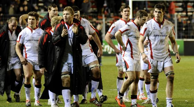 Roger Wilson and his Ulster team-mates find little comfort after the heavy defeat in France