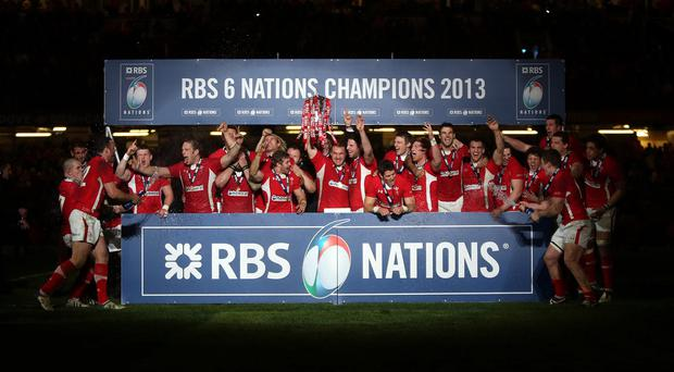 Wales celebrate winning the RBS 6 Nations title after beating England in Cardiff two years ago