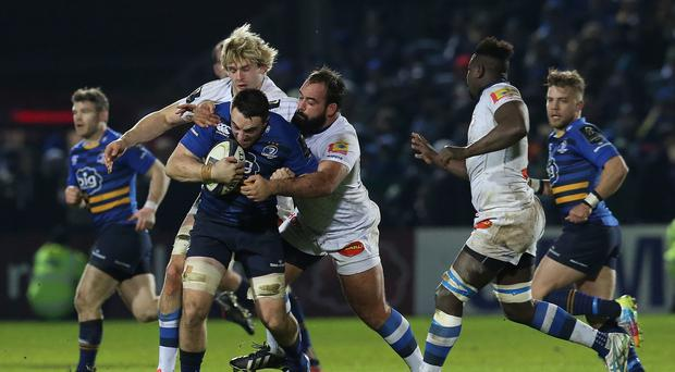 Leinster number eight Jack Conan, with ball, has been called into Ireland's 46-man Six Nations training squad