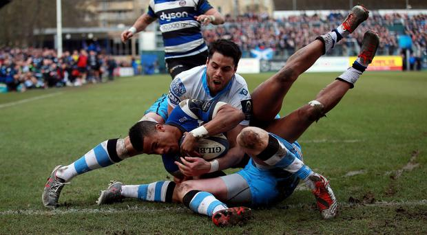 Anthony Watson, centre, helped Bath secure a 20-15 win over Glasgow