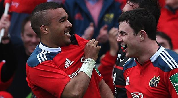 Simon Zebo, left, touched down twice for Munster on Sunday