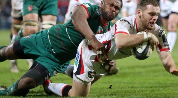 Ulster's Darren Cave touches down for one of his three tries at the Kingspan in the win over Leicester Tigers