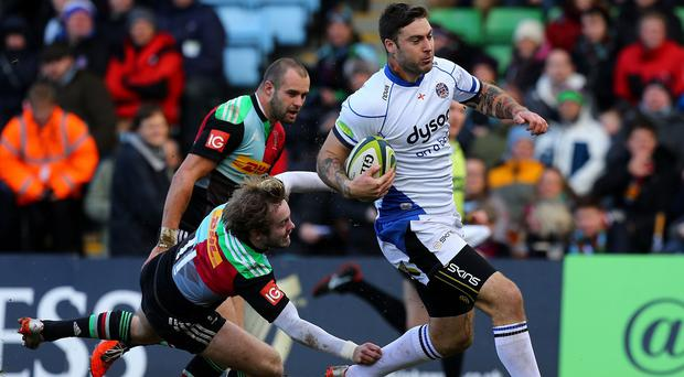 Matt Banahan, with ball, scored an early try in Bath's victory over Harlequins