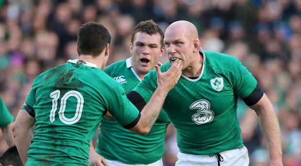 Ireland's Paul O'Connell and Johnny Sexton celebrate during the RBS Six Nations match at the Aviva Stadium, Dublin.