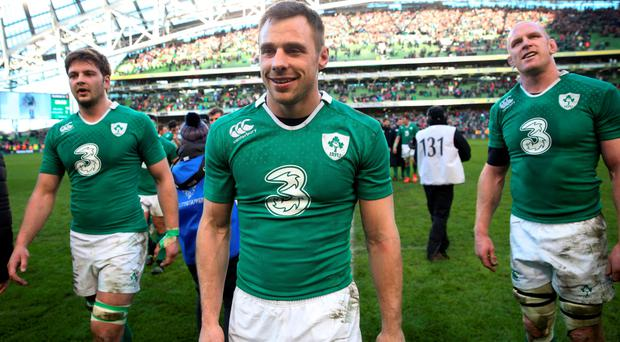 Wonderful day: Tommy Bowe leaves the field after beating England