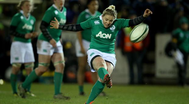 Getting her kicks: Ireland captain Niamh Briggs secures the points to overcome England in the 2015 Six Nations