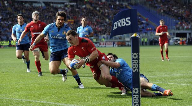 George North scores in Wales' 60-21 RBS Six Nations victory over Italy in Rome.