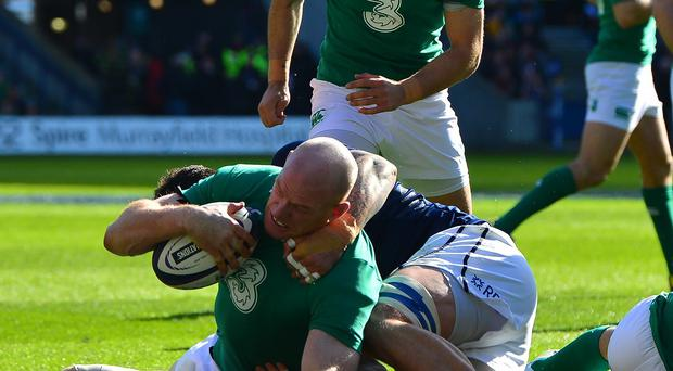 Ireland's Paul O'Connell scores the opening try in his side's 40-10 RBS 6 Nations victory over Scotland at Murrayfield.