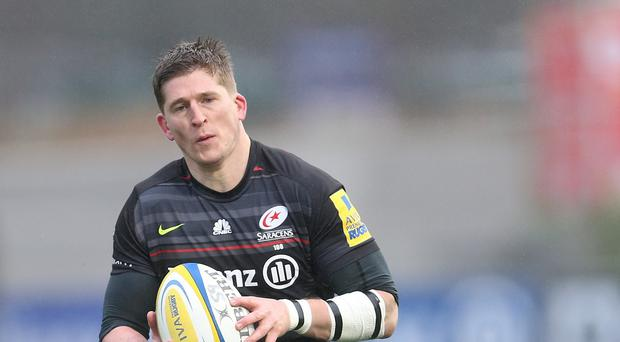 David Strettle, pictured, scored twice for Saracens as they won the LV= Cup