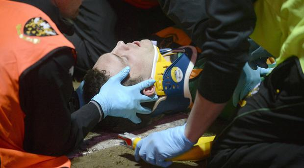 George North received treatment for a head injury during Northampton's game against Wasps