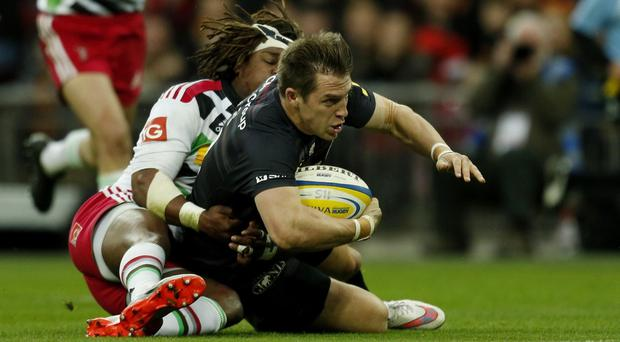 Saracens' Chris Wyles scores his second try against Harlequins