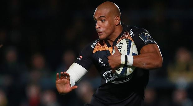 Tom Varndell, pictured, scored a hat-trick for Wasps