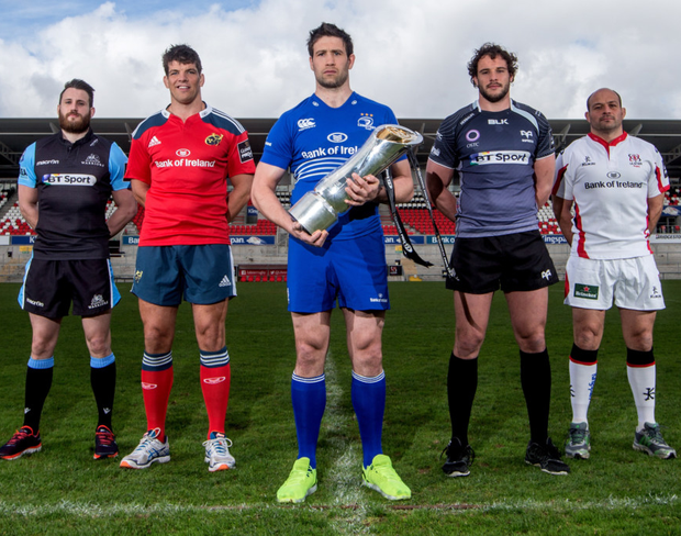 Prize guys: Glasgow's Tommy Seymour, Munster's Donncha O'Callaghan, Kevin McLaughlin of Leinster, Ospreys' Tyler Ardron and Ulster's Rory Best promote the PRO12 final at the Kingspan Stadium
