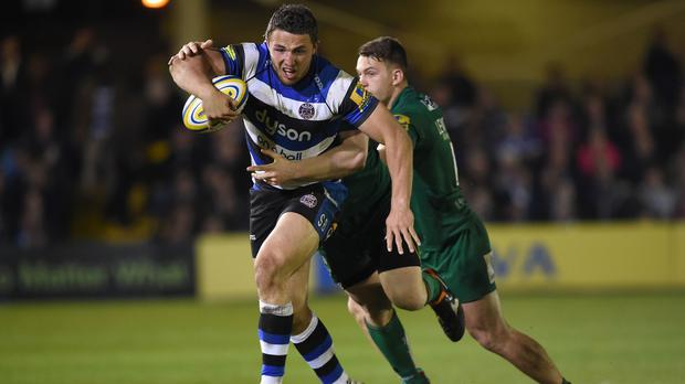 Sam Burgess, left, was named man of the match as Bath beat London Irish